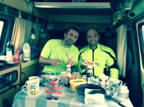 Chairman and Alan in the support camper van