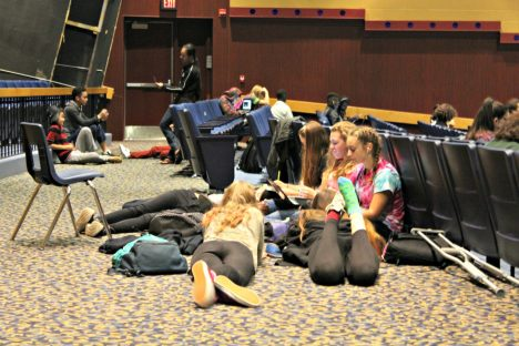 Students lounge during the BHS auditorium study hall on Monday, Oct. 17. | Photo: Alexandre Silberman/Register
