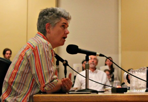 Kit O'Connor, the legislative coordinator for Vermont Amnesty International, an organization that fights for human rights, addresses the Burlington City Council during the public comment period.