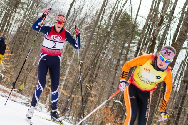 Burlington High School junior Marika Massey-Bierman (left), skis at a high school nordic race at the Ethan Allen Firing Range in Jericho on Feb. 2. | Photo: Jake Bucci/Register