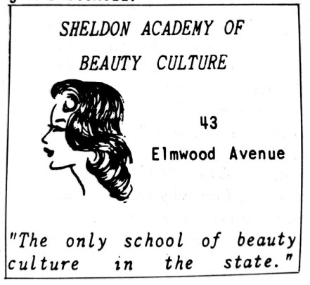 An advertisement for the Sheldon Academy of Beauty Culture on Elmwood Avenue appeared in the Register in 1939.