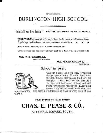 A page of advertisements from the original 1898 edition of the Register included a variety of businesses from around Burlington.