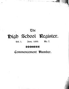 The front page of the June 1899 commencement edition.