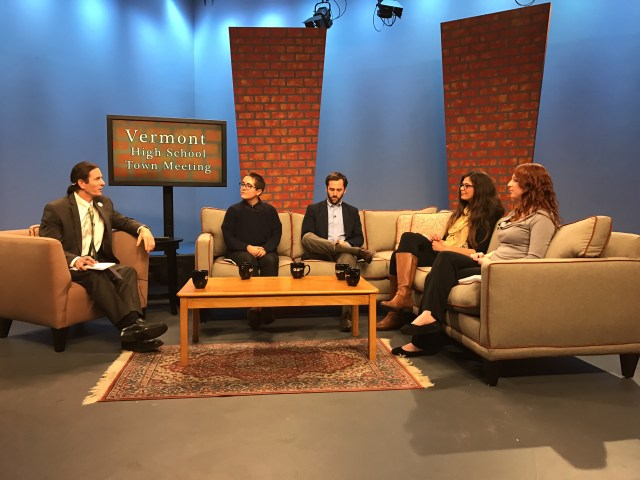 Vermont Lt. Gov. Dave Zuckerman (far left) held a high school town hall panel at Vermont PBS studios in Colchester on Thursday, May 4. The event was livestreamed and televised statewide, and students could ask questions in-person or online. The panel consisted of youth activists (from left to right) Alex Escaja-Heiss, Austin Davis, Elise Greaves and Haley Lebel-Stephen.