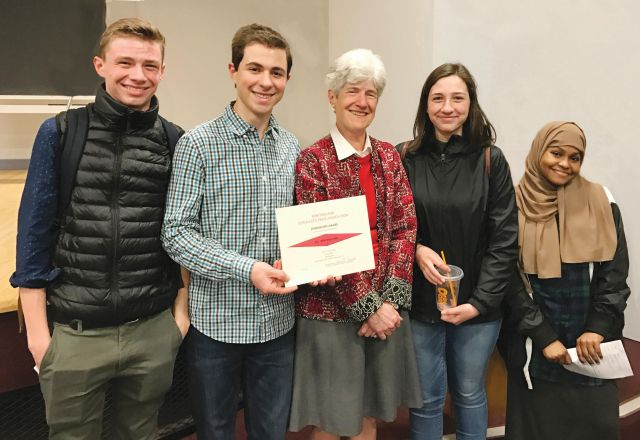 Register staff accept the first place, All-New England print/online newspaper award at the New England Scholastic Press Association conference at Boston University on Friday, May 5. From left to right: Jake Bucci, Alexandre Silberman, NESPA Executive Director Helen Smith, Isabella Bucci and Halima Said.