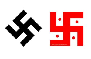Left: The Nazi swastika. Right: The Hindu swastika used by student Kolby LaMarche on his school email account. | Photos: Wikimedia
