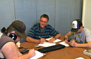 ONTOP Program Director Ed Murray works with students on May 22. Murray is retiring this June after over two decades.