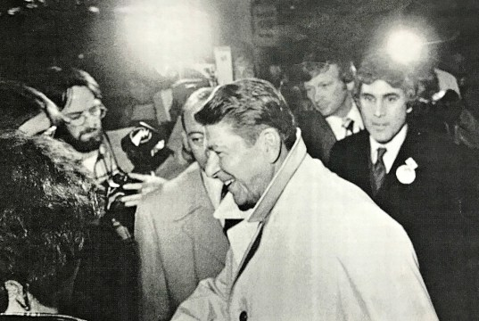 BHS teacher Ron MacNeil, back left, captures Ronald Reagan's arrival at the Sheraton Hotel in Burlington on Feb. 14, 1980. MacNeil worked as a photojournalist before going into education.   Photo: Courtesy Rob Swanson