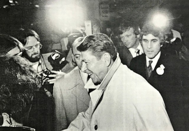 BHS teacher Ron MacNeil, back left, captures Ronald Reagan's arrival at the Sheraton Hotel in Burlington on Feb. 14, 1980. MacNeil worked as a photojournalist before going into education. | Photo: Courtesy Rob Swanson