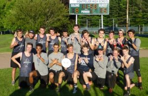 Burlington players celebrate the 15-8 win over Montpelier for the ultimate frisbee state championship. | Photo: Courtesy Kim Hageman