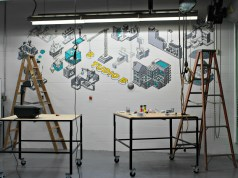 Burlington Technical Center's new makerspace includes a mural created by students in the design and illustration program. | Photo: Alexandre Silberman/Register