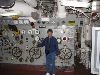 The Throttle Board in one of the USS Midway's engine rooms