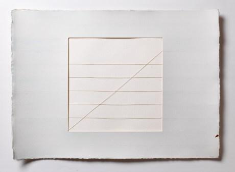 Bilge Friedlaender Çizgisel Diyagonal Mutasyon 1975 Suluboya, kesilmiş kağıt ve ip 56 x 78 cm