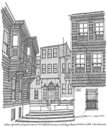 Akillas Millas kitabında, Heybeliada'nın bir bölümü yitip gitmiş evlerini mahalle ve sokaklarını, bahçe kapıları ve mezar taşlarına kadar yaptığı yüzlerce çizime de yer verdi. Bunlardan biri: Galenzadika Mahallesi'nden Livadakia'ya doğru tırmanan yokuşun solunda Vorya, sağda Gacani evi, aralarında Papakalos'un Rum Cemaati'ne vakfettiği köşk.