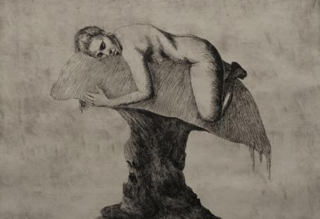"""Taylan Demirbiler, """"İsimsiz"""", Gravür (kağıt üzerine metal baskı, 24 x 35 cm, 2019"""