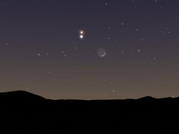 Dziś wieczorem czeka nas na niebie jeden z najpiękniejszych widoków w roku. Tuż obok Księżyca zobaczymy Wenus, a nad nią Marsa