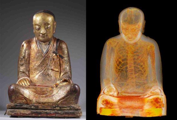 Zmumifikowany chiński mistrz Liuquan. Po lewej - posąg, po prawej - skan z tomografu komputerowego