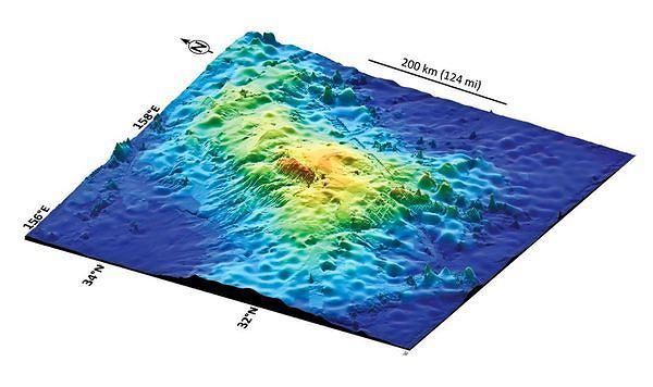 Mapa 3D wulkanu Tamu Massif