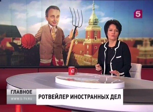 Karykatura Grzegorza Schetyny w reportażu rosyjskiej telewizji