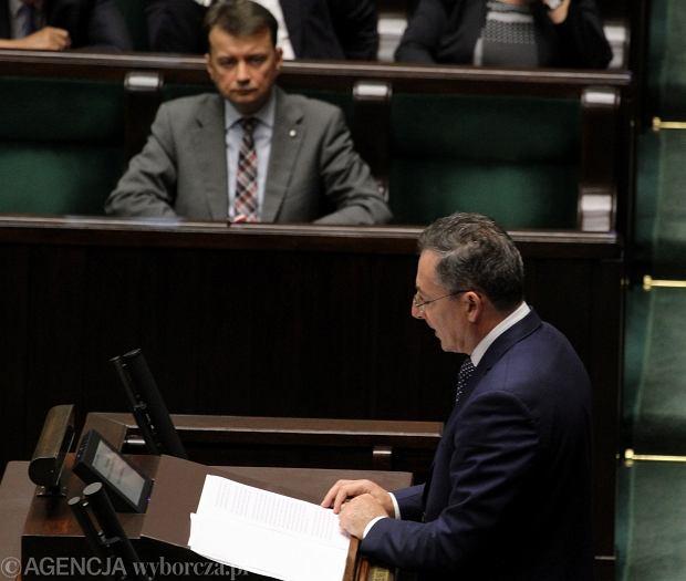 Minister spraw wewnetrznych Bartlomiej Sienkiewicz podczas debata nad wnioskiem o jego odwolanie