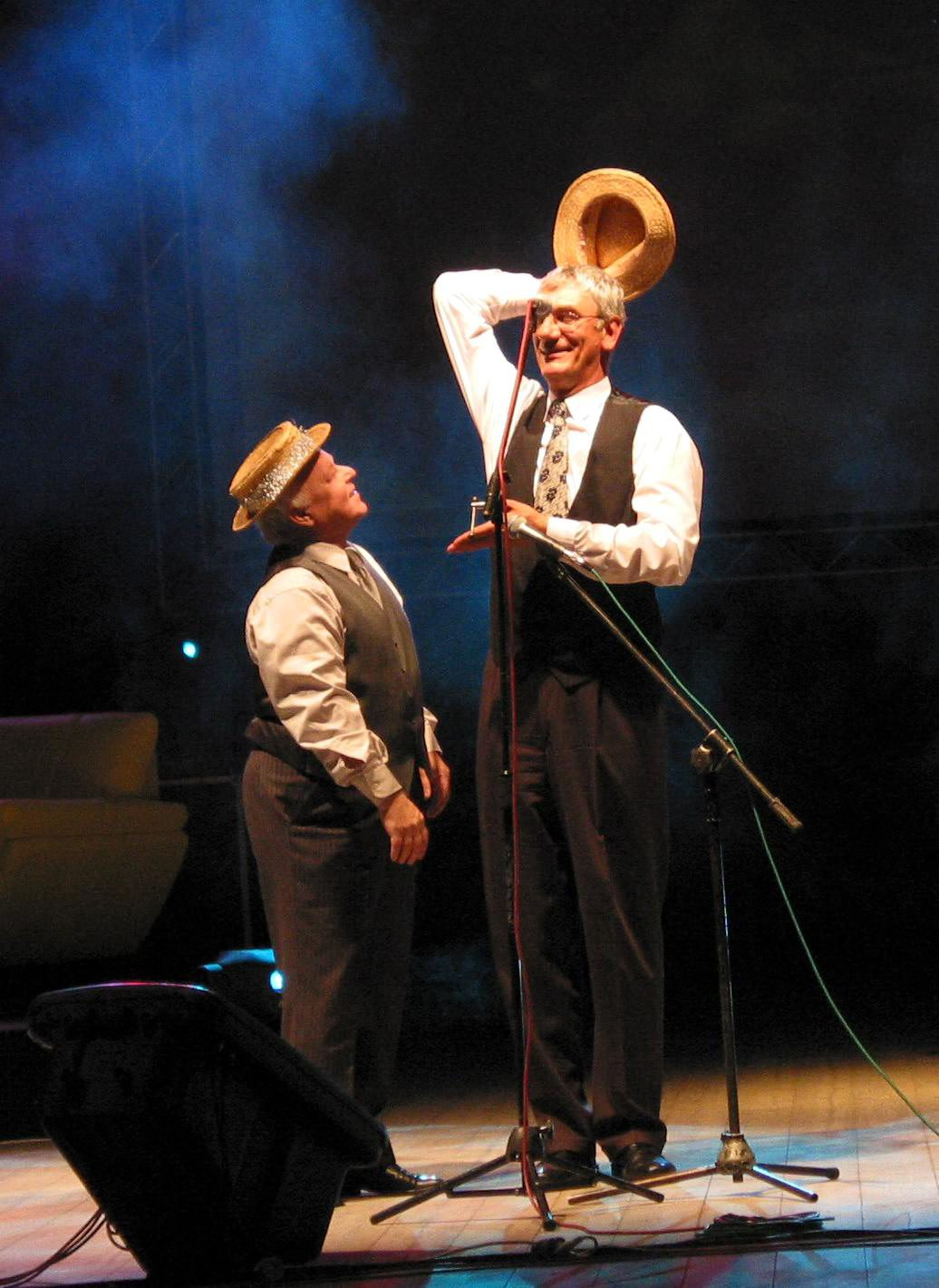 Marian Opania i Jan Kobuszewski w Opolu; 2004 r. (Rafał Mielnik / Agencja Gazeta)