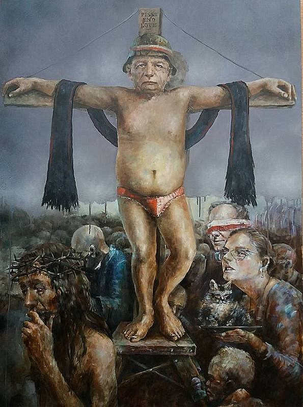 praca Piotra Jakubczaka z wystawy w Galerii Kukuczka w Jasnowicach w gminie Istebna