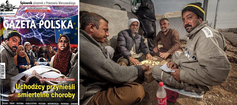 Irak, Kurdystan, oboz al Khazer, 27.02.2016. Obóz dla uchodźców wewnętrznych (IDP) al Khazer, na wschód od Mosulu. Na zdjęciu: mężczyźni grają w domino w ramach jednej z nielicznych rozrywek w obozie. Obok fotomontaż na okładce 'Gazety Polskiej'.