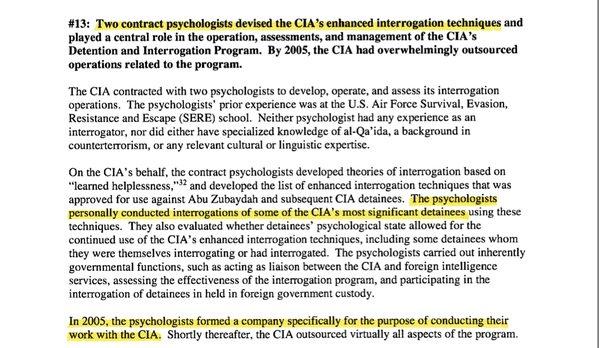 Fragment raportu przygotowanego przez senat USA dotyczącego metod CIA