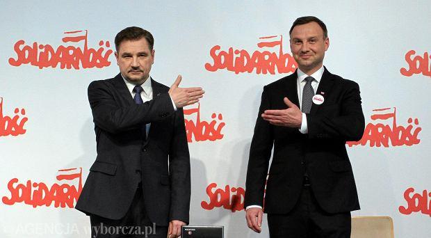 Przewodniczący NSZZ Piotr Duda i prezydent Andrzej Duda