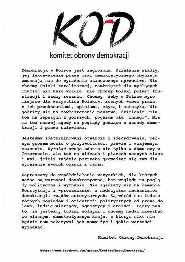 Manifest Komitetu Obrony Demokracji