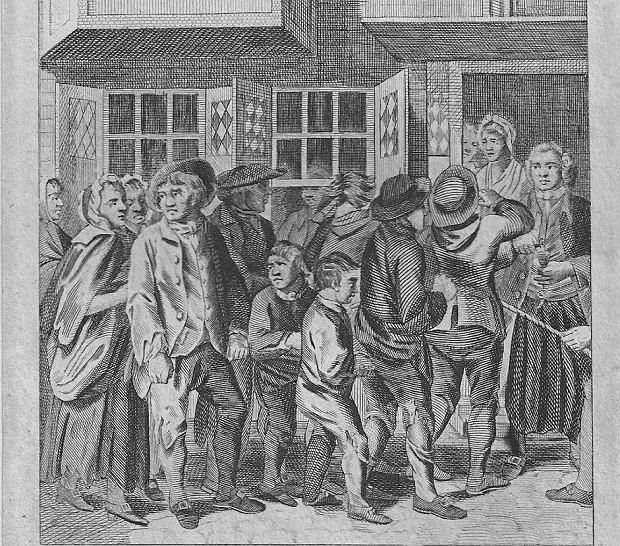 Na XIX-wiecznej rycinie dorośli i małoletni skazani stoją w jednej kolejce do londyńskiego więzienia Newgate. Całe lata w tych kazamatach siedzieli razem dorośli, kobiety oraz dzieci. Wielokrotnie przebudowywane więzienie działało ponad 700 lat, od 1188 do 1904 r.