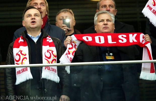 Andrzej Duda I Aleksander Kwaśniewski na meczu Polska-Irlandia