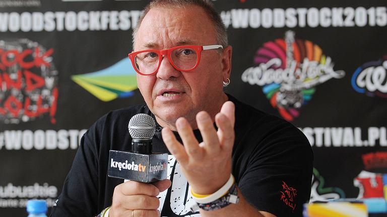 Woodstock 2015 - temat konferencji, którą poprowadził Jurek Owsiak. Na zdjęciu Jurek Owsiak, prezes zarządu WOŚP