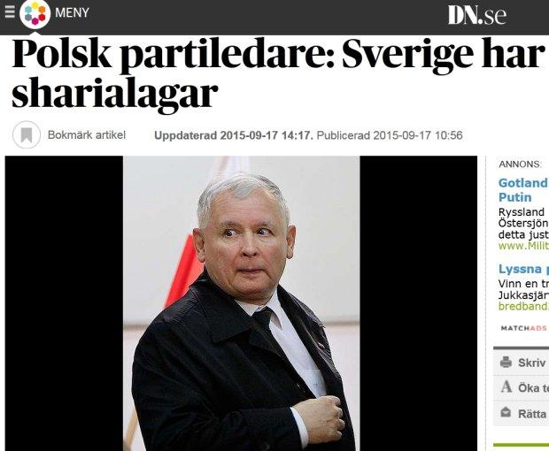 Artykuł w szwedzkim dzienniku Dagens Nyheter