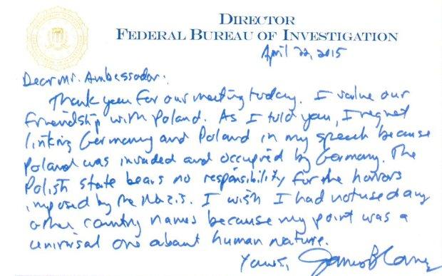 List dyrektora FBI Jamesa Comeya