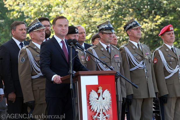 Andrzej Duda przemawia podczas obchodów Święta Wojska Polskiego