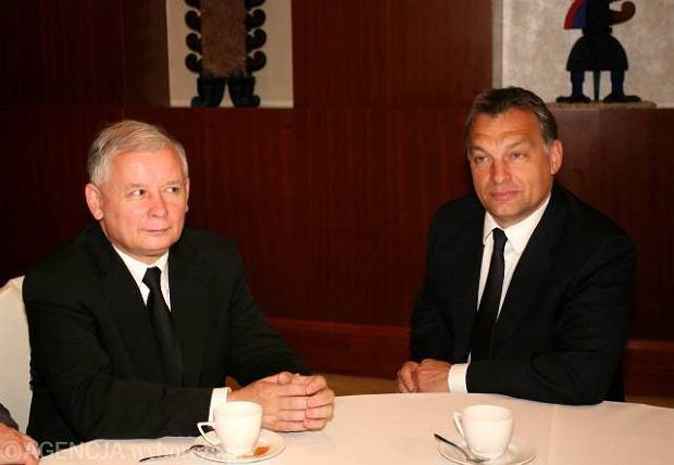 Jarosław Kaczyński, wówczas kandydat na prezydenta, i Victor Orban