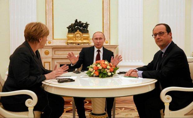 Angela Merkel, Władimir Putin i Francois Hollande podczas rozmów, Moskwa, 06.02.2015 r.