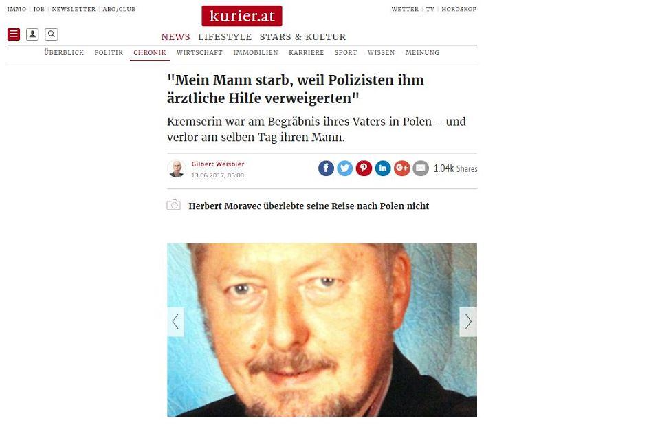 Fragment strony internetowej austriackiego Kuriera z artykułem o śmierci Moravca