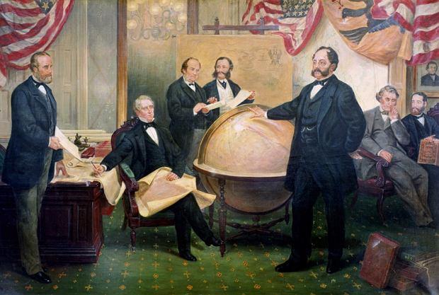 30 marca 1867 r., podpisanie rosyjsko-amerykańskiej umowy w sprawie sprzedaży Alaski na obrazie olejnym Emanuela Leutzego. Po lewej stronie od globusa siedzi pomysłodawca kupienia przez USA nowego terytorium, sekretarz stanu William Seward (1801-72). Przed globusem stoi baron Eduard de Stoeckl, ambasador cara Aleksandra II, który odpowiadał za transakcję ze strony rosyjskiej.