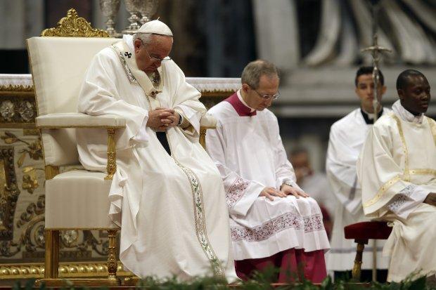 Papież Franciszek podczas Mszy Krzyżma