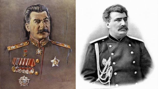 Dowodem na to, że Stalin (po lewej) był Polakiem, miało być jego podobieństwo do hrabiego Przewalskiego (po prawej). Ale świadczy ono tylko o tym, że portrecista Stalina popełnił plagiat. Oryginalne są tylko oczy i wąsy wodza