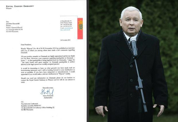 List ambasadora Danii / Jarosław Kaczyński