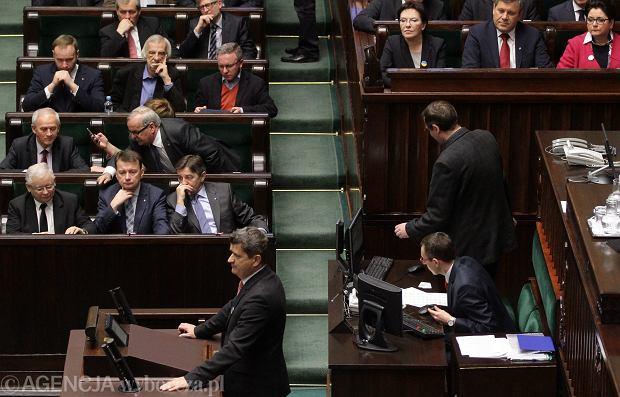 Obrady Sejmu, przemawia Janusz Palikot