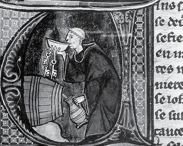 Mnich degustujący piwo. Ilustracja rękopisu pochodzącego z XIII wieku