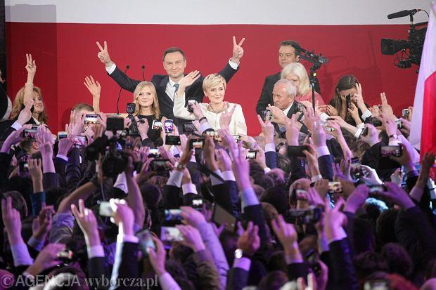 Andrzej Duda w swoim sztabie po zwycięstwie w wyborach prezydenckich