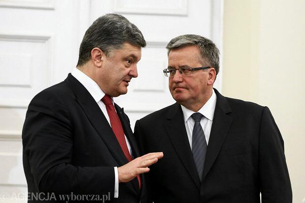Petro Poroszenko i Bronisław Komorowski podczas spotkania w Pałacu Prezydenckim