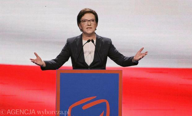 Premier Kopacz podczas konwencji PO