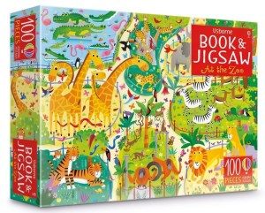 A vibrantly illustrated 100-piece jigsaw showing a busy zoo, plus a 24-page picture puzzle book presented together in a colourful sturdy box. The jigsaw measures 59 x 40cm and both the jigsaw and puzzle book are packed with things to spot and talk about. Can you spot a tiger wearing pyjamas, three donkeys, the zookeeper's keys and lots more?