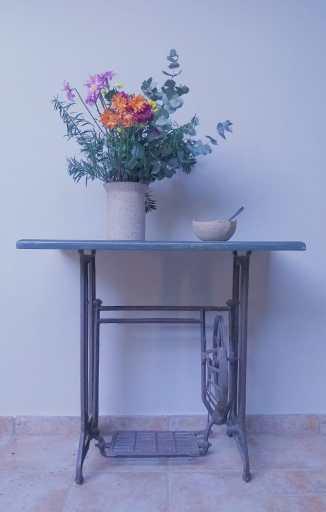 Cena frontal de um suporte de maquina de costura antigo, com tampo em pedra, sobre ele um vaso com flores à esquerda e à direita um bowl de sopa com uma colher dentro Fotografia de Walfrit Schreiner